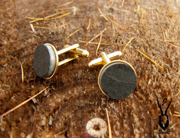 gold plated slate cufflinks