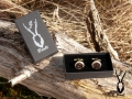 antler cufflinks in box