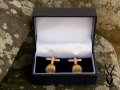 gold plated bullet cufflinks in box